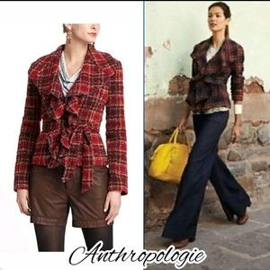 Tabitha/ Anthropologie plaid jacket coat ruffle